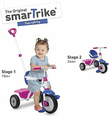 NEW SmarTrike 2 in 1 Fun Tricycle Trike & Adult Push Along  - Pink & Blue
