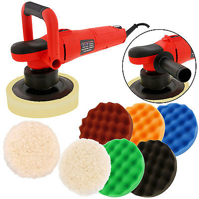 "6"" Variable Speed Random Orbit Dual-Action Polisher w/ 6 Polishing Foam Pads Kit"