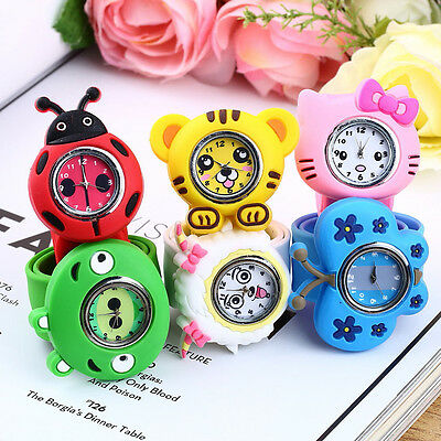 Fashion Animal Slap Snap On Silicone Wrist Watch Boys Girls Children Kids HT