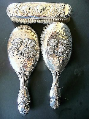 Silver Hallmarked brushes and Hand mirror 1902/07 Winged Cherubs Dressing table