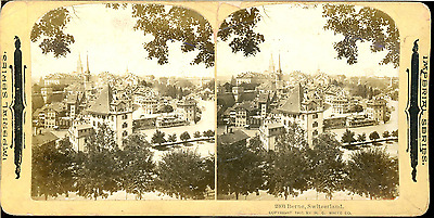 STEREO Suisse, Berne, Vue panoramique  Vintage silver print stereo card Tirage