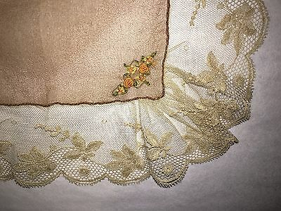 Pretty Antique Lace Trim Ladies Silk Handkerchief Hand Embroidered w Tiny Roses