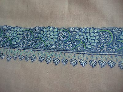 Antique Cream Wool Challis Shawl Silk Hand Embroidery Ottoman Turkish Paisley