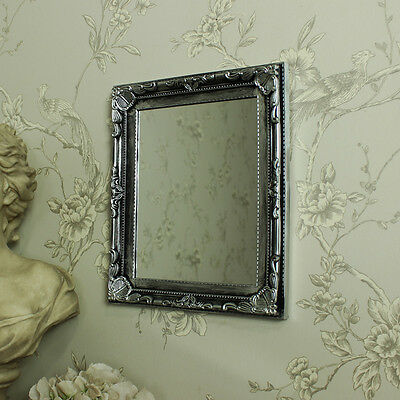 silver ornate antique rocco carved wall mirror bathroom bedroom gift