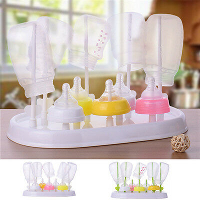 Antibacterial Baby Kids Bottle Drying Rack Hygienic Baby Nipple Container Boxes
