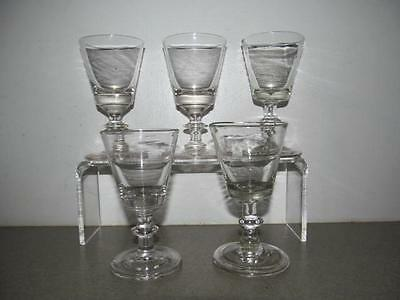 Set Of 5 Antique Blown Flint Glass Cordials Wine Glasses ~ Boston Sandwich