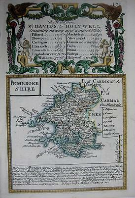 PEMBROKESHIRE  PEMBROKE  WALES  BY EMANUEL BOWEN GENUINE ANTIQUE MAP c1720