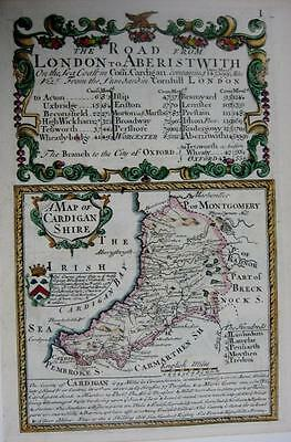 CARDIGANSHIRE  CARDIGAN  WALES  BY EMANUEL BOWEN GENUINE ANTIQUE MAP c1720