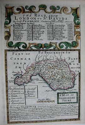 GLAMORGANSHIRE  GLAMORGAN  WALES  BY EMANUEL BOWEN GENUINE ANTIQUE MAP c1720