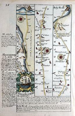 WALES  ANGLESEY  DENBIGHSHIRE BEAUMARIS    BY EMANUEL BOWEN GENUINE MAP c1720