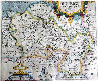 WALES  DENBIGHSHIRE  FLINTSHIRE  BY SAXTON & KIP GENUINE ANTIQUE MAP  c1610