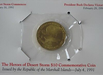 1991 Marshall Islands Heroes of Desert Storm $10.00 Coin with Display Card E0535