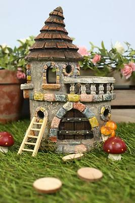 Magical Fairy Castle House-Home With Balcony Solar Light FAERIE Elf Pixie Garden