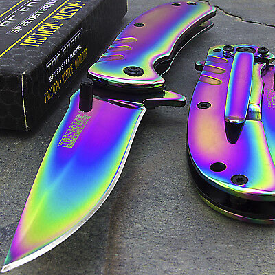 "6.25"" Tac Force Rainbow Titanium Spring Assisted Folding Tactical Pocket Knife"