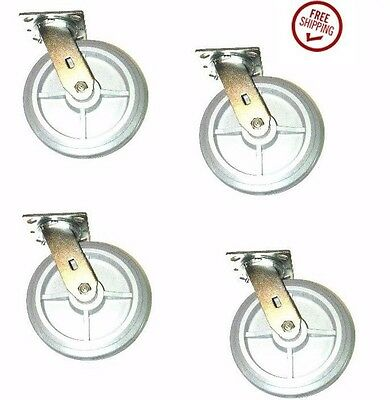 """(Four)Clearance Swivel Caster with 8"""" Soft Rubber & 4"""" x 4-1/2"""" Plate"""