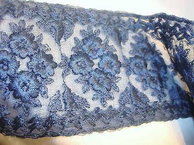 "Nice Edwardian Dark Blue Silk Embroidered on Net Passementerie Trim 62"" by 3.5"""