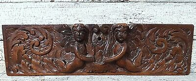 CARVED WOOD PANEL ANTIQUE FRENCH 16 th RENAISSANCE ANGEL CARVED WOOD CARVING a