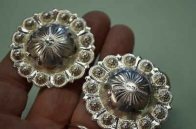 """Finest FLEMING STERLING Large Berry Bead Fancy Saddle CONCHOS 1 3/4"""" *HIGH DOME"""