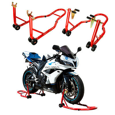 Motorcycle Stands, Front and Rear Set, Front Forklift Rear Spoollift Paddock RED