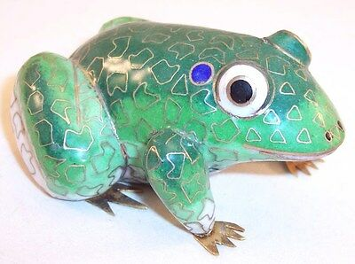 Handcrafted Green Enamel Porcelain Frog Figurine with Gold Accents & Metal Feet