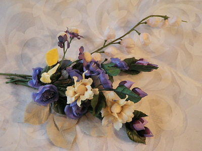 """Vtg Retro Millinery Flower Collection 3/4"""" -1 1/2"""" Purple Ivory For Hat  H1361"""