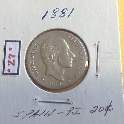 Philippines Coin 1881 Spanish Era  20 Centavos Silver King Alfonso Xii