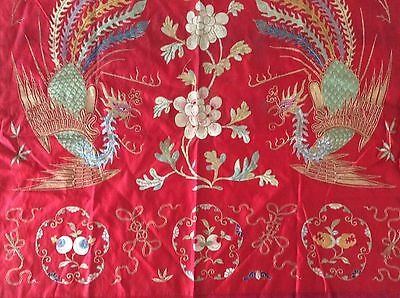 Old Chinese Panel Silk Metallic Embroidery Roosters Flowers As Is Usa Only Ship