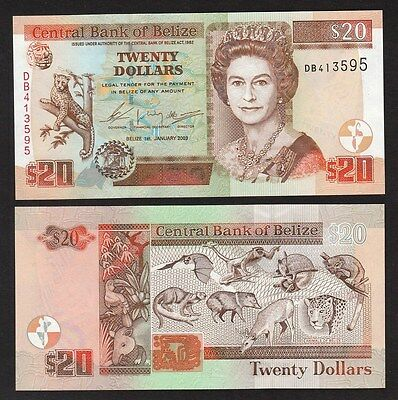 Belize 20 Dollars (2003) P69a Queen Banknote Animals of Belize UNC