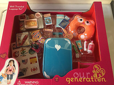 "OUR GENERATION Travel Luggage Suitcase Set Fits AMERICAN GIRL 18"" Doll"