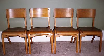 4 X Vintage/retro Wood Child's School Stacking Chairs (E)
