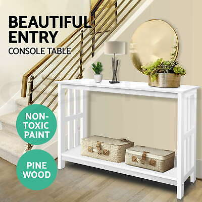 Hall Console Table Hallway Side Entry Display Desk Timber Stand Wooden White