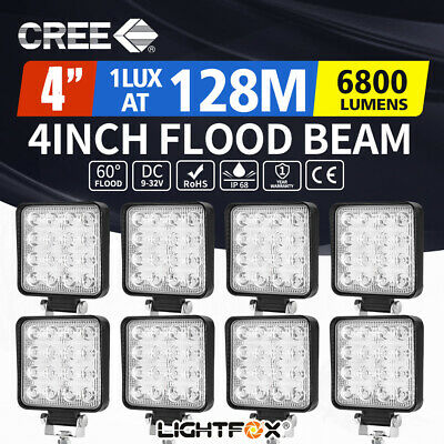 8X 80W LED Work Light Square Flood Lamp Offroad Tractor Truck 4WD SUV 12V 24V