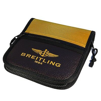 Breitling Luxury Brown Leather And Yellow Canvas Zipper CD Case Very Rare 2018