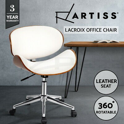 Executive Wooden Office Chair Home Work Leather Padded Computer Work Seat White
