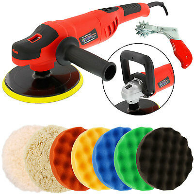 "7"" Variable Speed Polisher Buffer, Digital RPM, 6 Polishing Buffing Foam Pads"