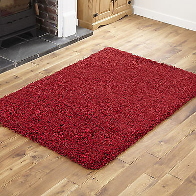 NEW LARGE 120x170cm RED THICK PLAIN SOFT SHAGGY RUG NON SHED 5CM PILE MODERN RUG
