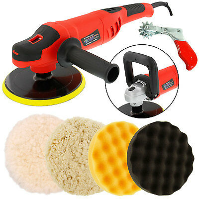 "7"" Variable Speed Polisher Buffer, Digital RPM, 3 Polishing Buffing Foam Pads"