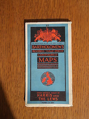 BARTHOLOMEW'S REVISED HALF-INCH CONTOURED MAP SHEET 57 HARRIS & THE LEWS c1940s