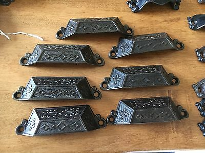 "c1871 SET of 7 matching authentic VICTORIAN cabinet pull hardware 3.5"" on holes"