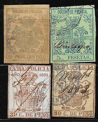 Spain caribbean island,antilles lot of 4 police revenue stamps, 1870s-1880s