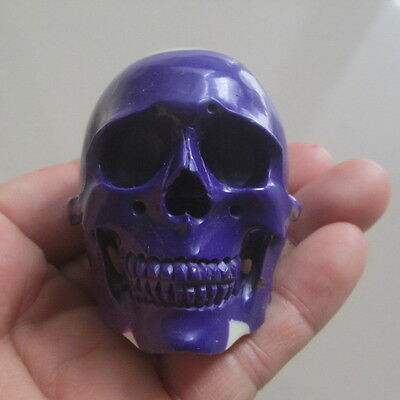 Hand Carved Head Skull in Billiard Pool Ball No 4 Carving Netsuke --- WOOW---