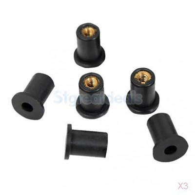 3x 6pcs Wellnuts Metric M5 Windscreen/Fairing Rubber Well Nuts for Motorcycles