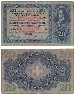 XN.40) SWITZERLAND 20 francs 1935 / tear / VF-