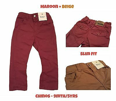 Boys Trouser Chino Slim Fit Baby Red Maroon Beige Chinos Adjustable Waist BNWT