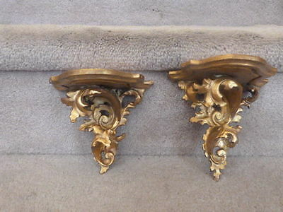 2 GREAT ANTIQUE Florentine ROCOCO Italy Carved Wood Gold Gilt Wall Shelf Shelves