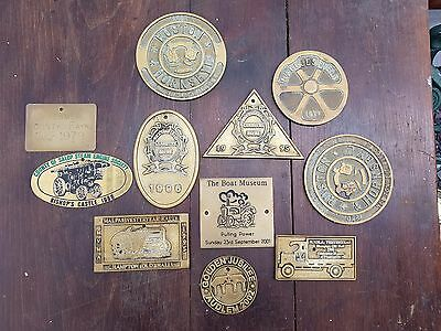 Vintage Steam Rally Brass Plates, decorative,Narrow boats,fireplaces etc..(2)