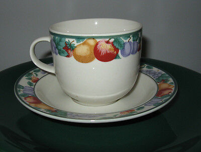 TIENSHAN INTRO Stoneware CUP SAUCER fruit design border like sangria