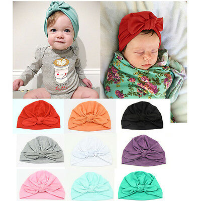 Baby Girls Boys Newborn Infant Toddler Knotted Rabbit Ears Cap Cotton Beanie Hat