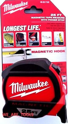 New Milwaukee 25' Heavy Duty tape Measure 48-22-7125 Magnetic 2-Sided 25ft Nylon