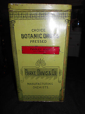 Antique C1906 Parke, Davis & Co. Manufacturing Chemists Drugstore Apothecary Tin